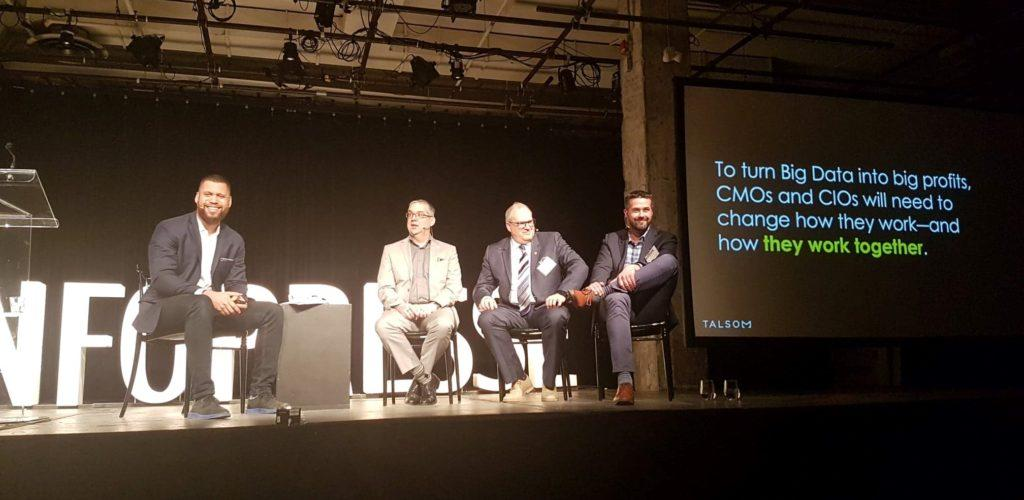 Olivier Laquinte, Tracy Smith, Denis Gagnon, Éric Leboeuf à l'événement infopresse, Data Marketing le 4 avril 2019